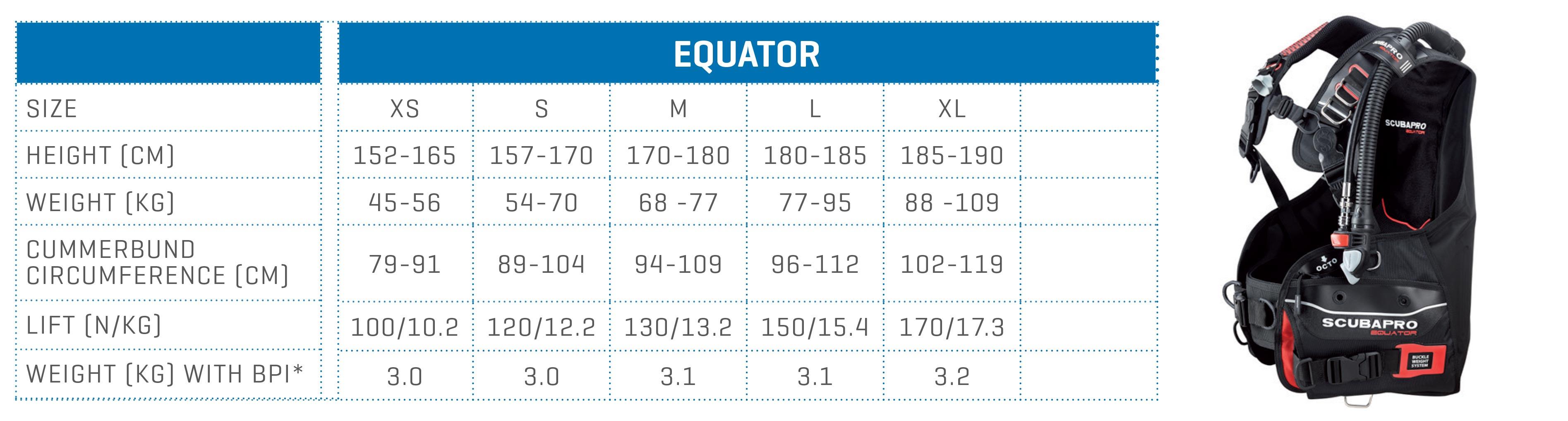 SCUBAPRO size chart BCD EQUATOR