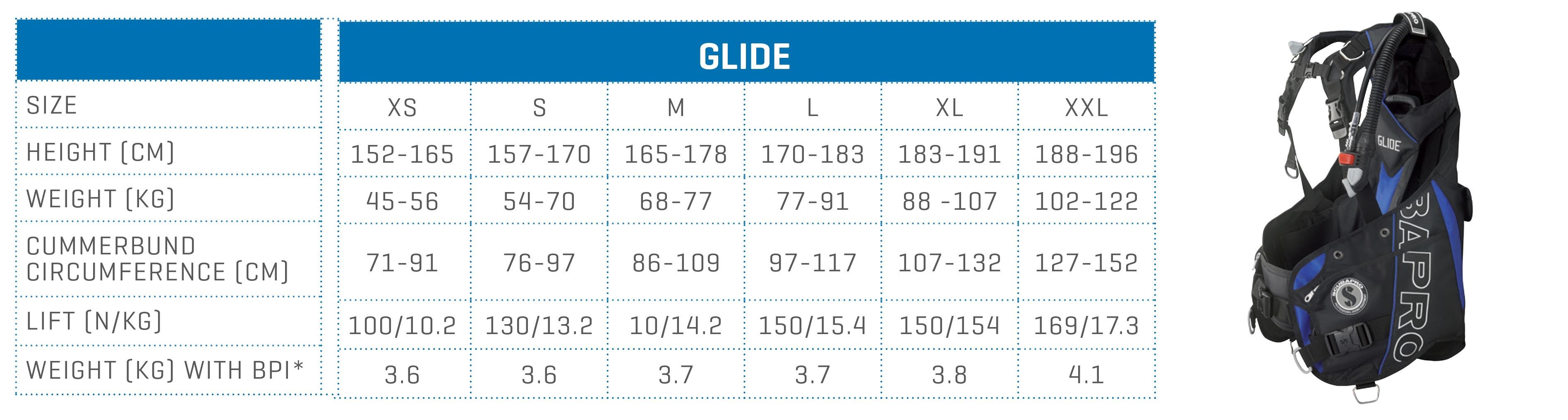 SCUBAPRO size chart BCD Glide