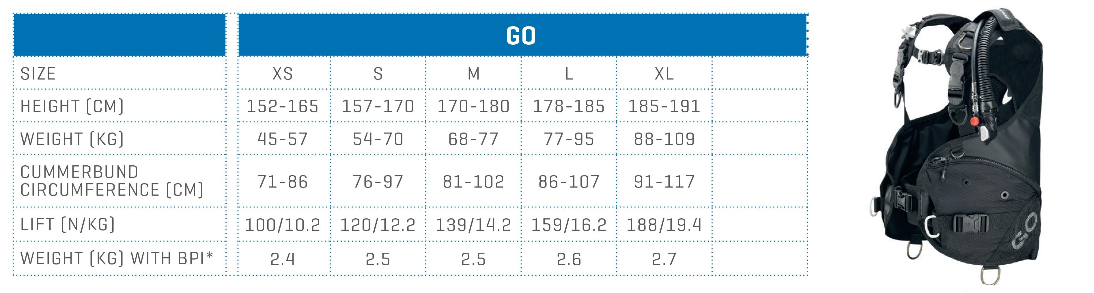 SCUBAPRO size chart BCD GO