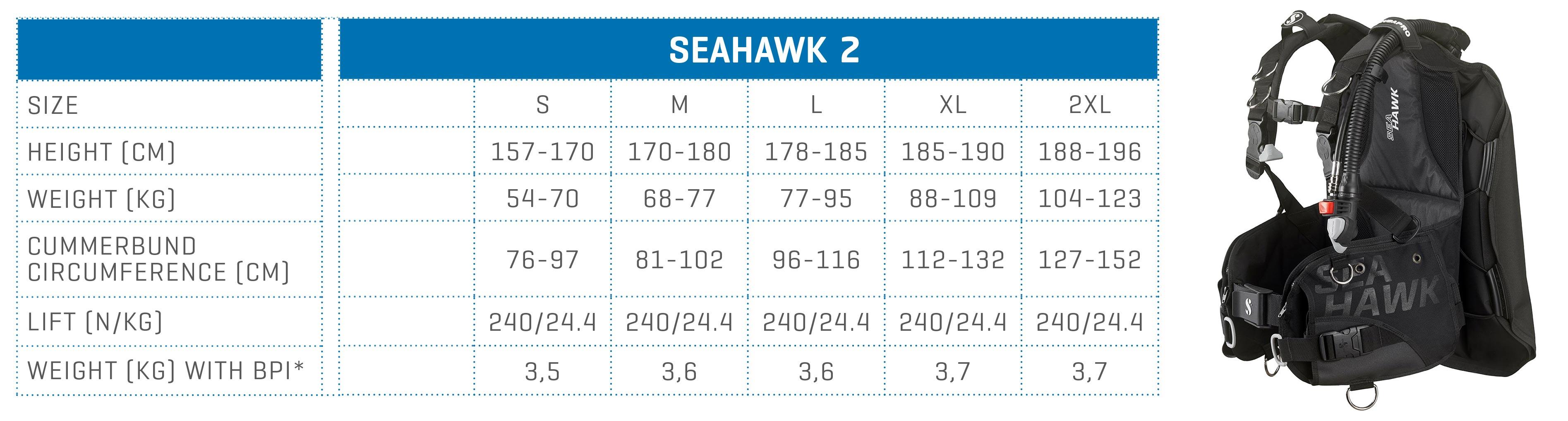SCUBAPRO size chart BCD LITEHAWK 2