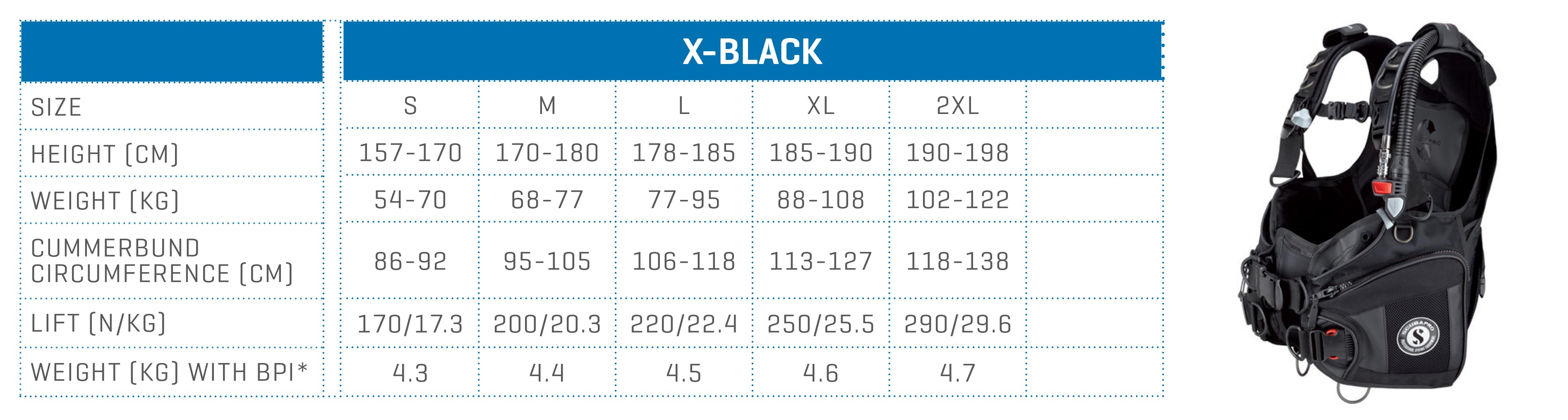 SCUBAPRO size chart BCD X-BLACK
